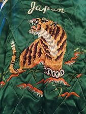 Vintage WWII Korea War Era Japan Souvenir Reversible Embroider Tiger Map Jacket.