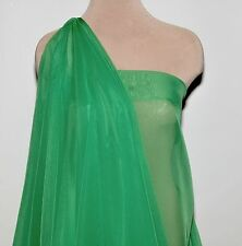 "Chiffon Fabric Sheer Kelly Green 60"" By The Yard Wedding Costume Home Decor"