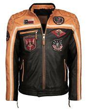 Top Gun RACER black/orange/off white Herren-Lederjacke