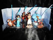 Disney Authentic Aladdin Christmas Ornament Figures 6pc Set Genie Jafar Jasmine