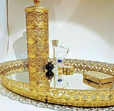 VTG Gold Filigree Dresser/Vanity Mirror w/ Perfume Bottles Powder & Lotion Cover