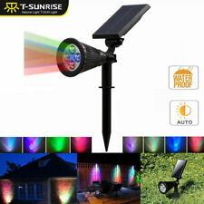 Solar Power Spot Lights LED RGB Color Garden Outdoor Path Landscape Wall Lamp