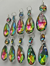10 CHANDELIER DROPS CUT GLASS CRYSTALS OVAL VITRAIL AB DROPLETS SUN CATCHER BEAD