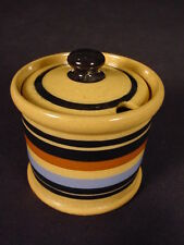 RARE SIGNED MUSTARD POT MULTI-COLOR BANDS T.G. GREEN YELLOW WARE MINT