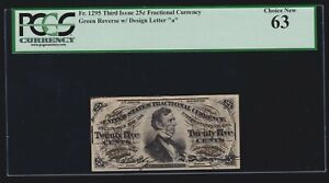 US 25c Fractional Currency 3rd Issue Green Back FR 1295a PCGS 63 Ch CU (020)