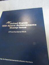 Postal Commemorative Society's United States 1981 Space Achievements