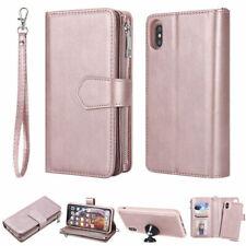 Detachable Zipper Leather Wallet Case for iPhone XR XS Max 7 8 Plus Samsung S10