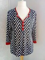 NEW Notations ladies size 12 14 stretch black & white top red accents work #r2