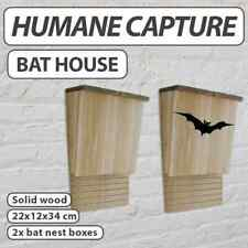 2x Bat House Wooden Single Chamber Handcrafted Nest Mosquito Control AA
