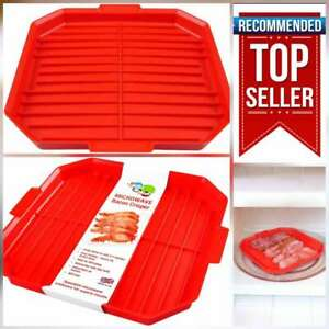 Microwave Bacon Crisper Tool Tray Cooker Healthy Crispy Bacon in 3-4 Minutes