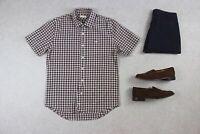 Folk - Shirt - Brown/White Gingham Check - 4/Large