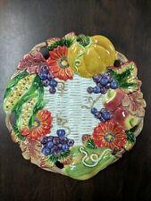 Vintage Fitz & Floyd 1997 Round Canape Plate Autumn Bounty