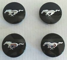 FORD RACING 15-17 MUSTANG PONY BLACK WHEEL RIM MIDDLE HUB CENTER CAPS 4PC