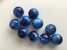 Pearlescent Blue Marbled 20mm Beads - Pack Of 10