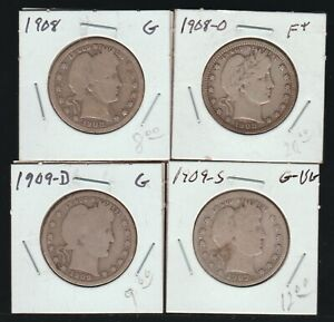 Lot of 4 Barber Quarters, G-F,  One From Each Mint