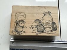 HOUSEMOUSE CHEWABLE ASPRIN WOOD  BACKED RUBBER STAMP USED HOUSE MOUSE