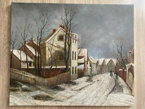 tableau paysage de neige XX ème siècle Ecole Française Montmartre ? Paris