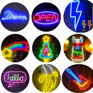 USB LED Neon Wall Sign Cool Light Art Decorations Accessories Party Holiday Bar