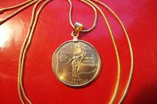 """Gold Filled US Pennsylvania State Quarter on a 24"""" 18k Gold Filled Snake Chain"""