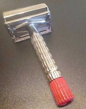 Rhodium Plated Gillette Red Tip Double Edge Safety Razor (C1)