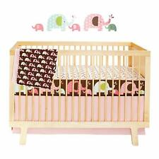 New Skip Hop Complete Sheet 4 Piece Crib Baby Nursery Bedding Sets Pink Elephant