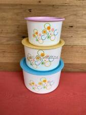 TUPPERWARE CIRCLES ONE TOUCH CANISTER SET / 3 PASTEL AQUA PALE PINK LEMON YELLOW