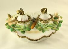 Vintage Porcelain Gilded And Green Leaf Inkwell with Sand Shaker and Desk Tray
