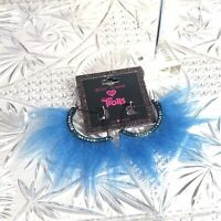 Betsey Johnson Trolls Designer Earrings Oversized Abstract Blue Runway Couture
