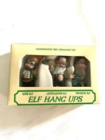 Vtg Box of 3 Elf Hang Ups Christmas Ornaments Wise Lamplighter Thinking Elves