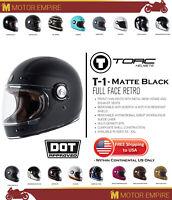 TORC T1 Retro Full Face Fiberglass Motorcycle Helmet Flat Matte Black DOT ECE