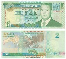 Fiji 2 Dollars 2000 Millennium Commemorative Y2K Issue  P-102a Banknotes UNC
