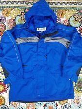 Columbia Sportswear Hoodie Windbreaker Rain Jacket Mens Sz M Aqua Blue Vintage