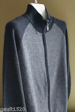 NWT Declan Cartwright Cashmere Men's Cardigan Gray Zip MockNeck Sweater S $290