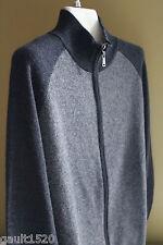 NWT Giasone 100% Pure Cashmere Men's Cardigan Gray Zip MockNeck Sweater M $290