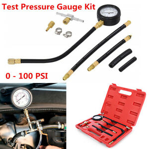 0-100 PSI Fuel Injection Pump Pressure Injector Car Tester Gauge Kit Universal