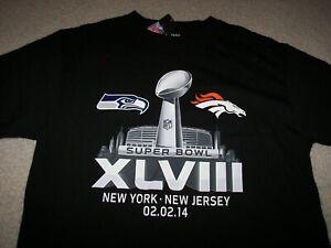 Denver Broncos Seattle Seahawks 2014 Super Bowl Men's T-Shirt Large NWT
