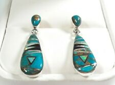 "925 STERLING SILVER SMALL MATRIX TURQUOISE & OPAL 1 3/16"" x 5/16"" POST EARRINGS"