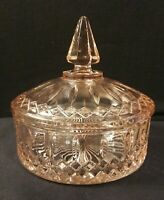 Vintage Indiana Glass Pink Princess Pattern Candy Dish with Lid Exc Condition