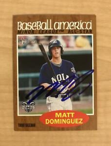 MATT DOMINGUEZ NEW ORLEANS ZEPHYRS SIGNED 2011 TOPPS HERITAGE CARD #208 W/COA