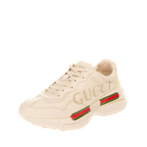RRP€640 GUCCI Leather Sneakers EU 41 UK 7 US 7.5 Web & Logo Print Made in Italy