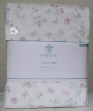 Rachel Ashwell Simply Shabby Chic Queen Sheet Set Vtg.Cottage Pink Floral Pastel