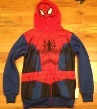 NWT Marvel Spiderman Costume Zip Front Hoodie MASK Sweat Shirt Boy Large L 14/16