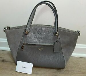 COACH Gray Leather/Suede Hand Bag Satchel Purse with Tag 14 x 9 x 3.5
