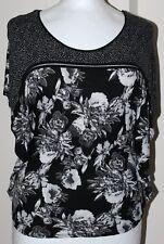 H&M Black White Multicoloured Floral Wide Arm Top Size M