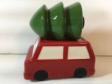 CERAMIC RED CAR WITH CHRISTMAS TREE ON ROOF BY TAG SALT AND PEPPER SHAKERS