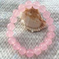 "New 6/8/10/12/14mm Round Pink Jade Gemstone Beads Stretchy Bangle Bracelet 7.5"""