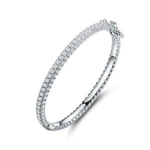 Sevil 18K White Gold Plated 3-Row Eternity Bangle Bracelet W Swarovski Elements