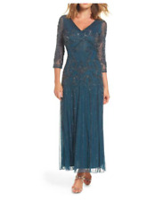 Pisarro Nights  Beaded VNeck Embellished Mesh 3/4 Sleeve Gown size 12 Msrp $248