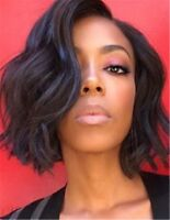 Charming Graceful Bob Wavy Hairstyle Dark Brown Synthetic African American Wigs
