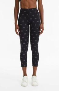 Champion C' Logo Print 7/8 Run Leggings Women's Black Grey Fitted Active Pants